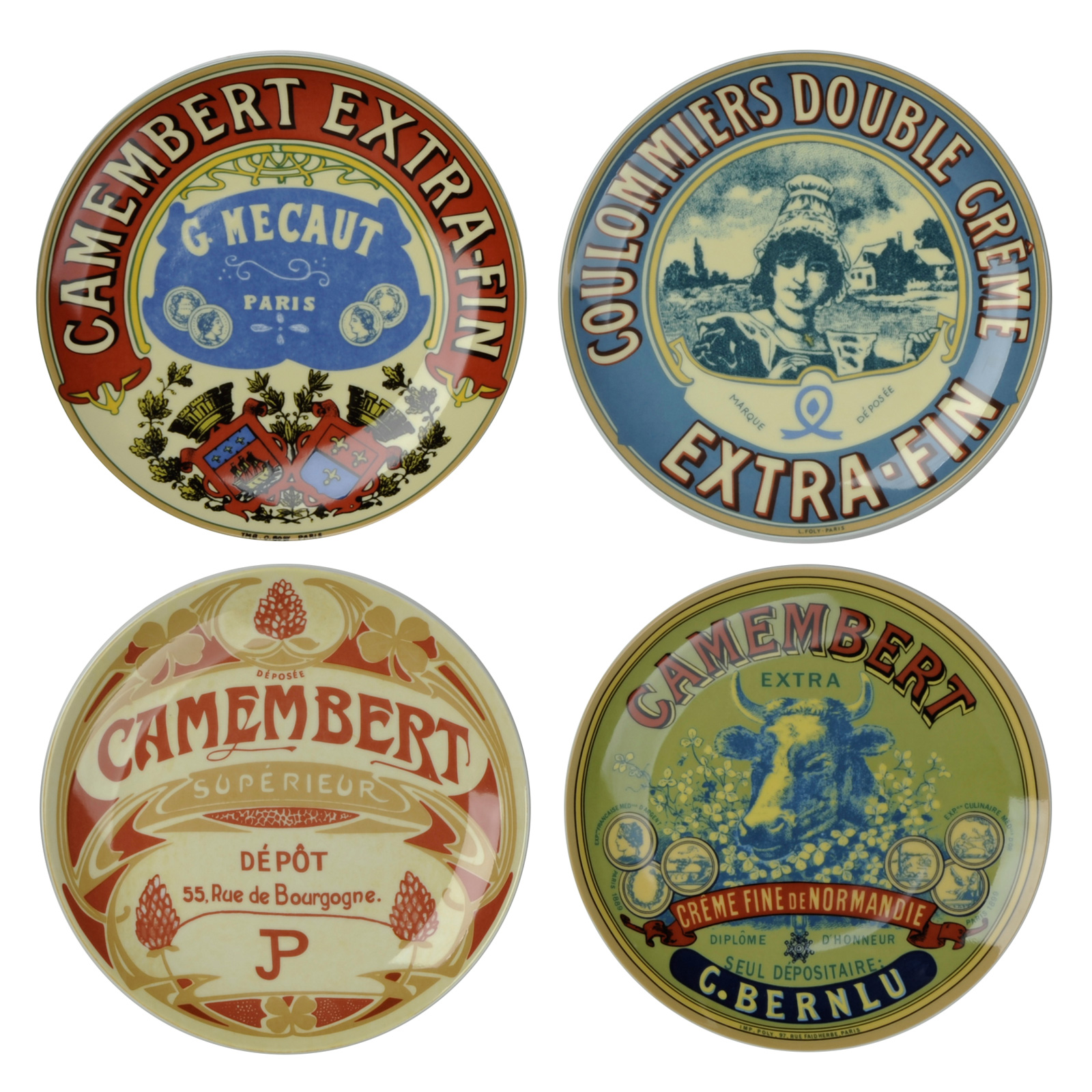 Set of 4 classic camembert canap plates the drh collection for What are canape plates