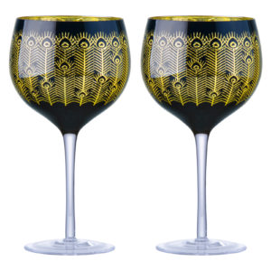 Set of 2 Midnight Peacock Gin Glasses