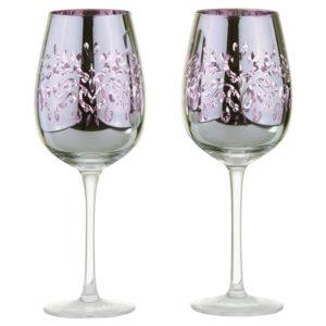 Set of 2 Filigree Wine Glasses Lilac